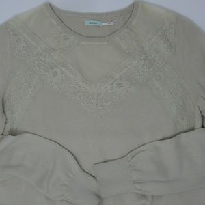 Kimchi Blue Large Sweater Lace Detail Light Brown